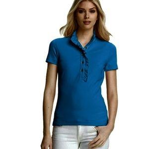 Tory Burch Turqouise Blue Lidia Ruffle Polo Shirt